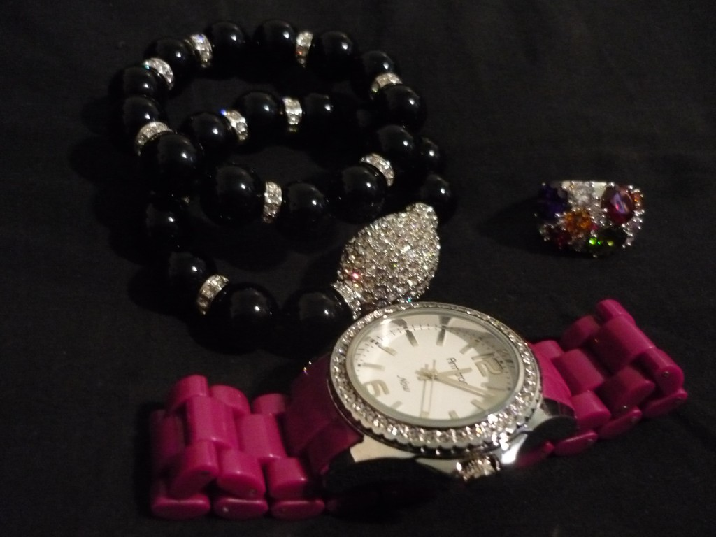 Joan Boyce bracelet in Black, Avon ring and Hot Pink Resin Watch by Armitron