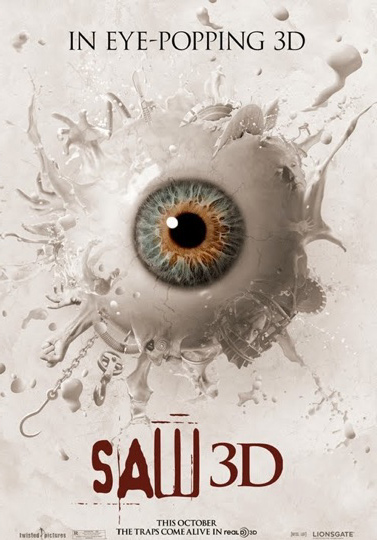 saw 3d eye popping movie poster