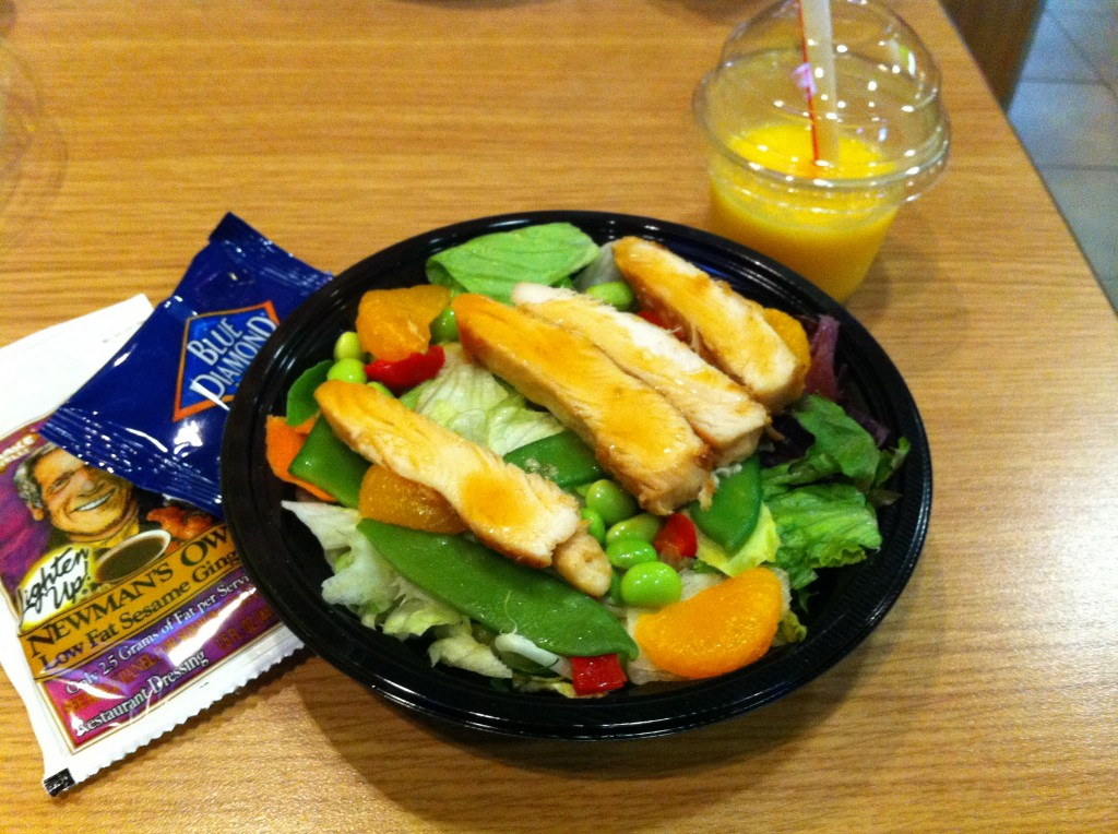 McDonald's Asian Salad and Mango/Pineapple Smoothie