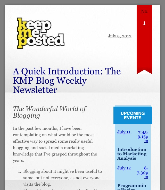 KMP Blog Newsletter