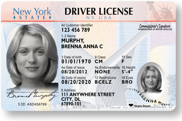 New York State Driver's License – New Black & White Look