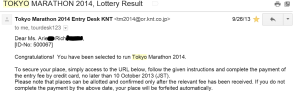 Tokyo Marathon 2014 Lottery Results