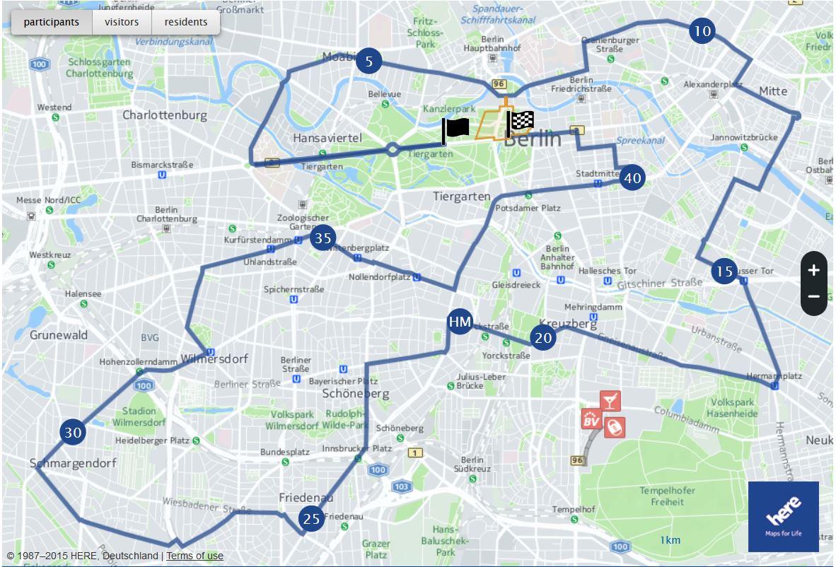 Strecke Halbmarathon Berlin 2020